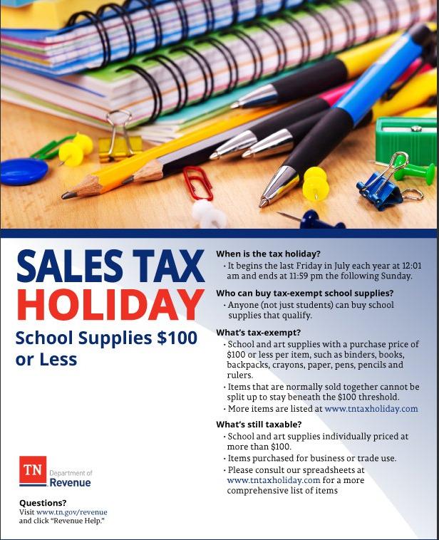 TN Tax Free Weekend School Supplies