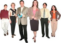 Group of professional men and women dressed in office attire