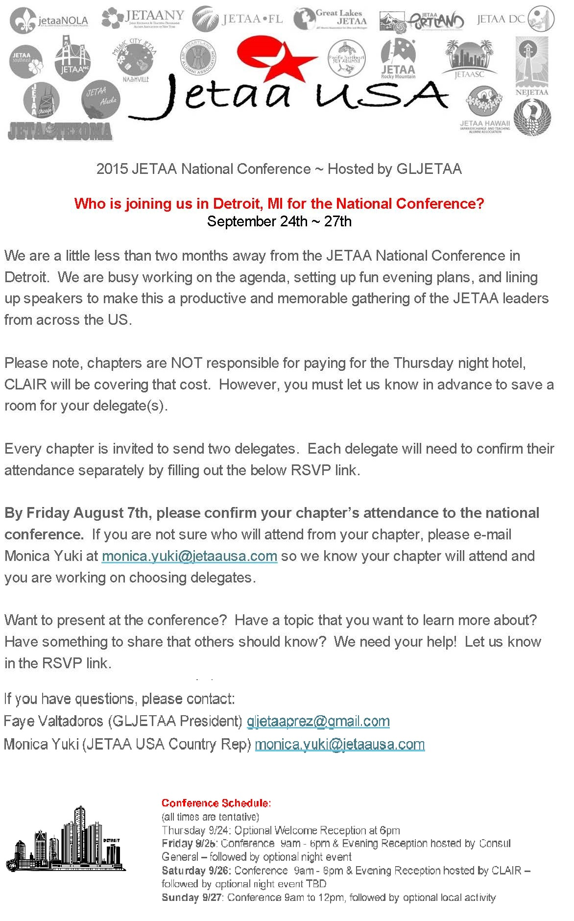 Sign up for the JETAA National Conference in Detroit