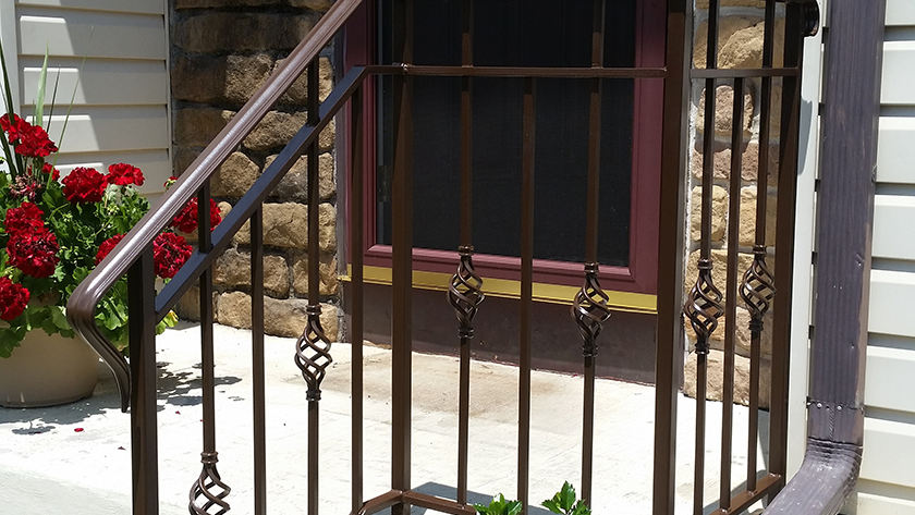 E22 Exterior Iron Basket Weave Railing