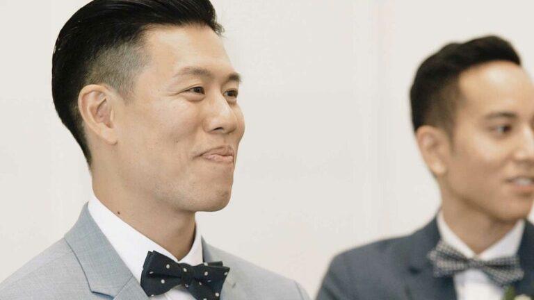 grooms reaction at the Arlington Estate