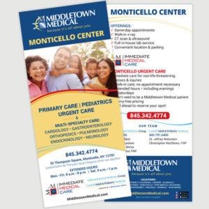 Middletown Medical Monticello Center rack card