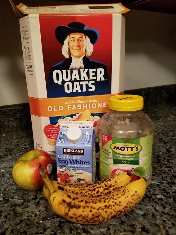 Oats, apple, egg whites, applesauce, and bananas