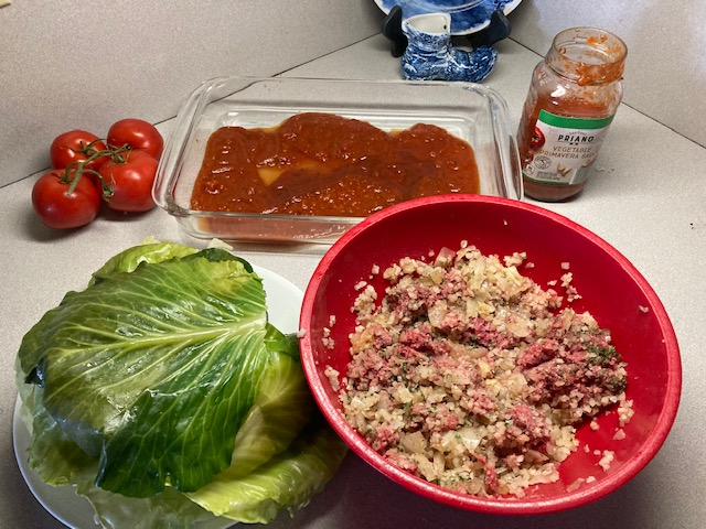 Making cabbage rolls with quinoa instead of rice