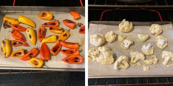 first quarter healthy eating involved using parchment paper and spray olive oil for roasting veggies.