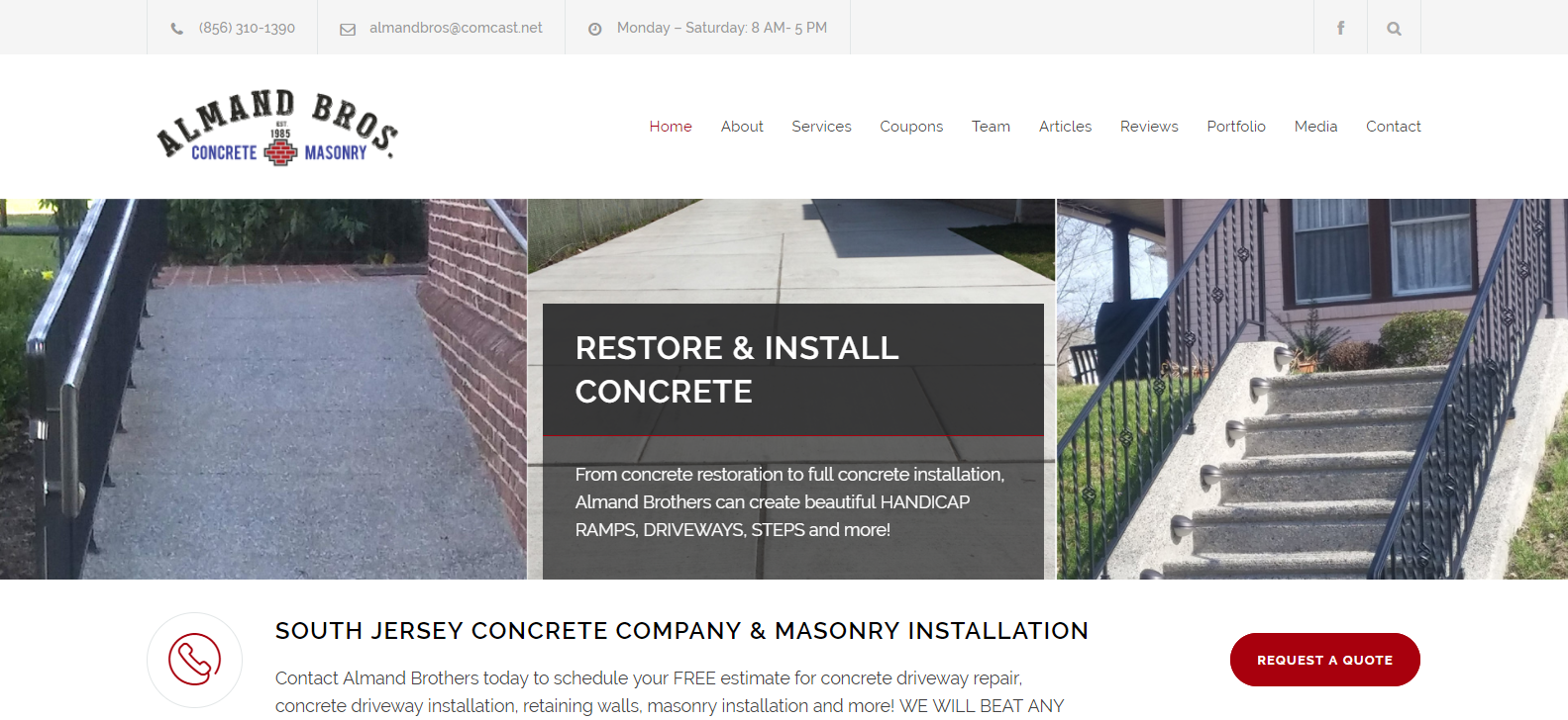 Almand Brothers South Jersey Concrete Contractor Masonry Installation Company