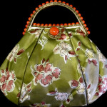 French silk and coral elegant purse
