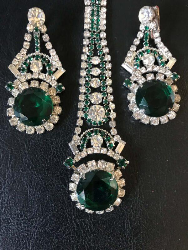 art deco rhinestone emerald demi Parure