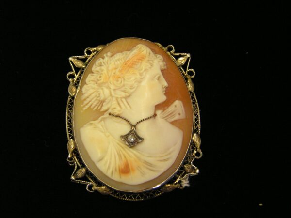 Antique 14K Habille Diamond Cameo-Sherman Oaks Antique Mall
