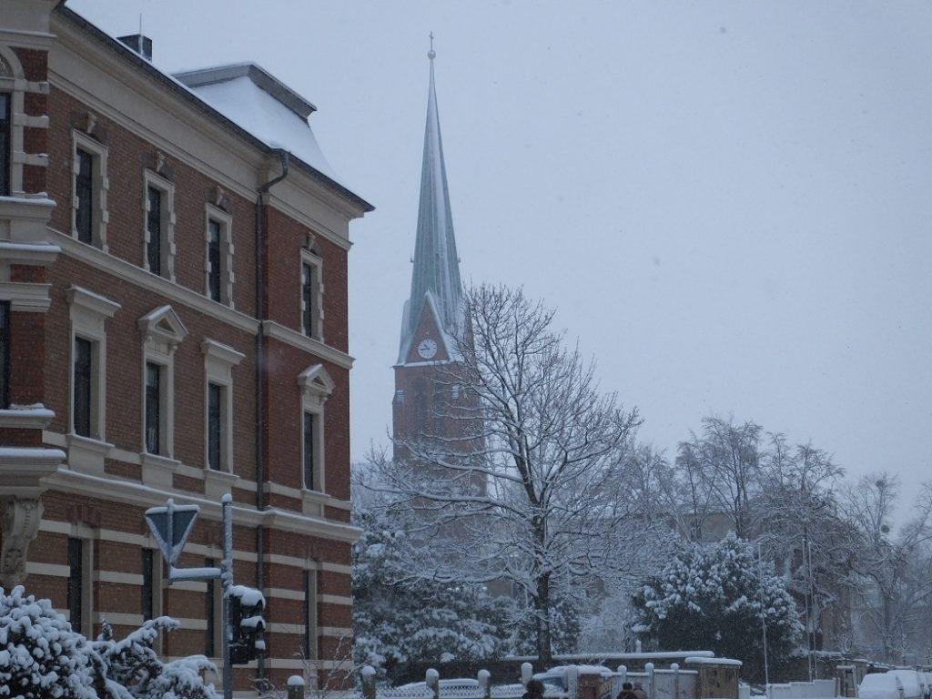 Улицы покрытые снегом. Саксония.