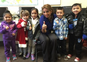 """Even the child wearing gloves joins Director Jimenezin giving the Philadelphia trip a """"thumbs up""""!"""