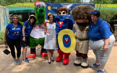 Mascots Victor Vaccine and Phillie Phanatic receive vaccine at Elmwood Park Zoo