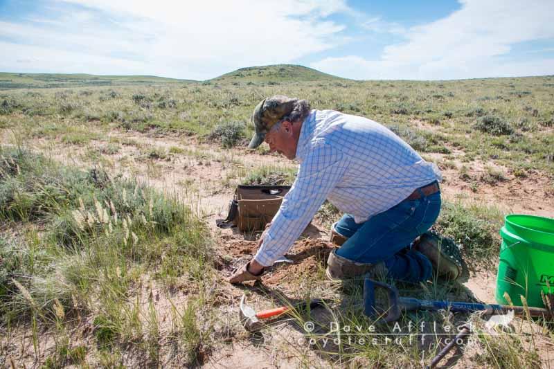 Scott setting trap in Wyoming