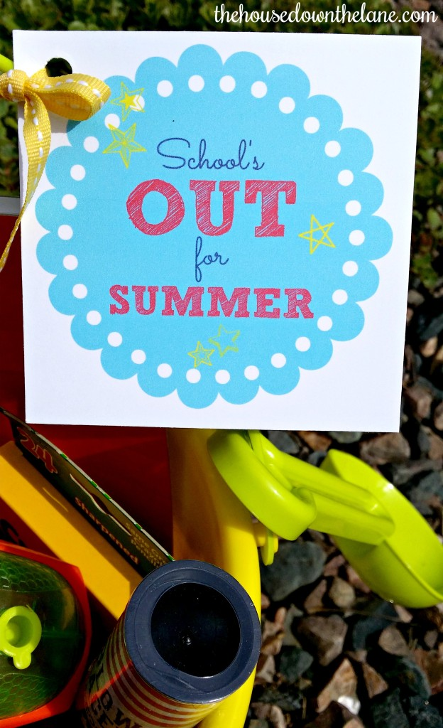 """School's {Almost} Out for Summer, and my kids have been working so hard to finish the year off strong. So, I decided it was time for the Summer Fun Fairy to bring them buckets of summer fun! Be sure to grab your FREE printable """"School's Out"""" tags! From thehousedownthelane.com!"""