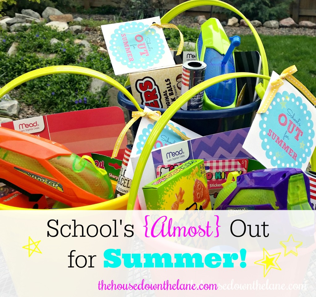 """School's {Almost} Out for Summer, and my kids have been working so hard to finish the year off successfully. So, I decided it was time for the Summer Fun Fairy to bring them buckets of summer fun! Be sure to grab your FREE printable """"School's Out"""" tags! From thehousedownthelane.com!"""