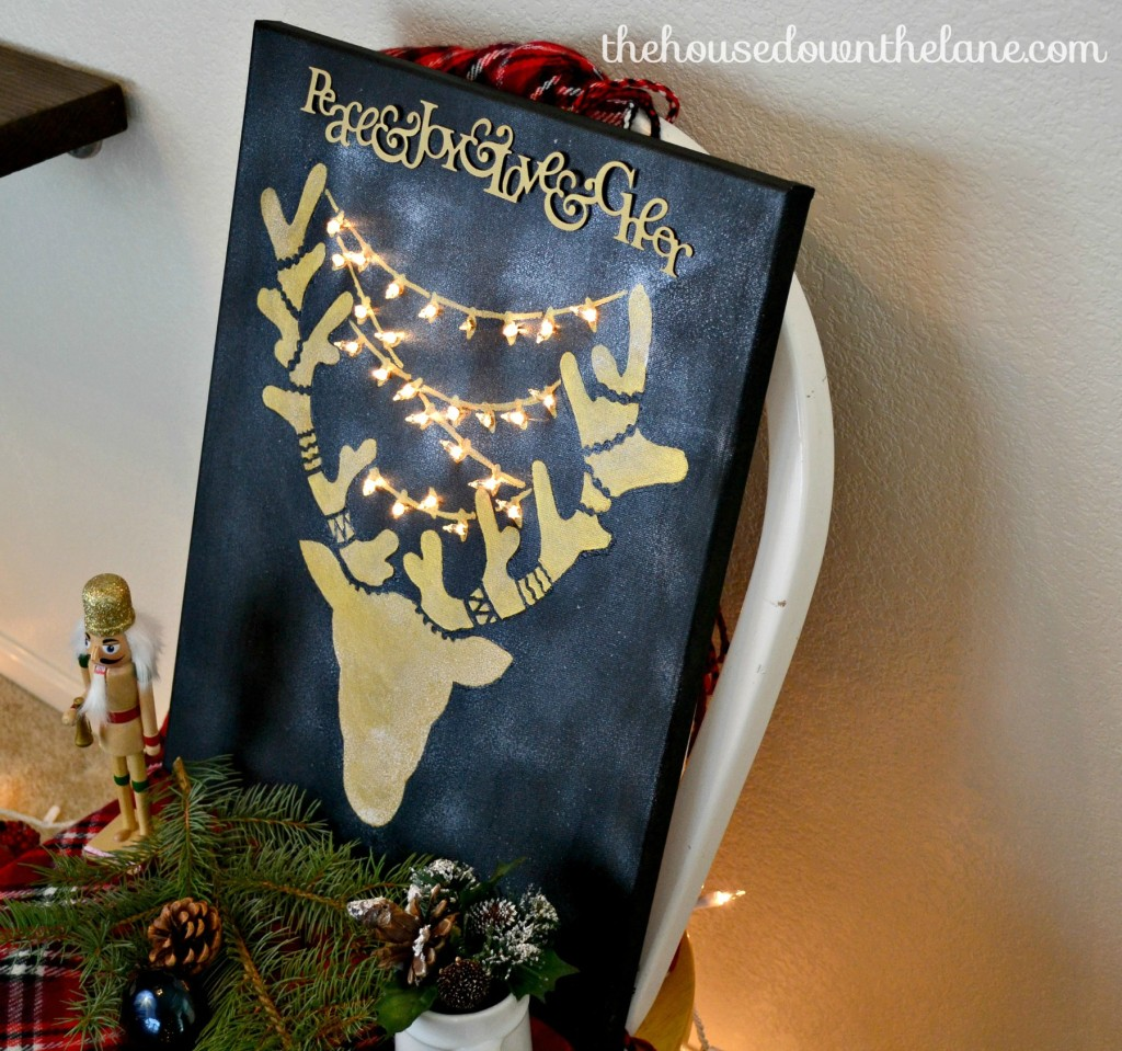 Create & Share Holiday Stenciled Craft: Reindeer Wall Art with Lights   The House Down the Lane