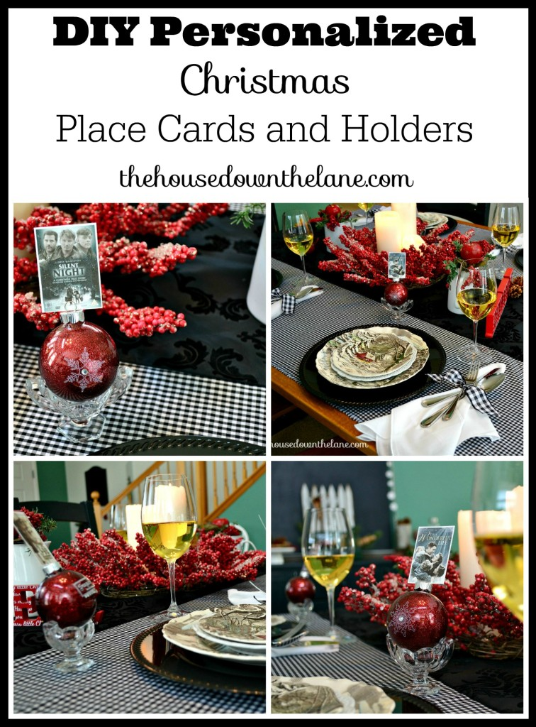 I created these DIY Personalized Christmas Place Cards and Holders for our annual Christmas Eve dinner. My husband makes each of our favorite entrees, and we eat, laugh, and enjoy fun conversations! | The House Down the Lane
