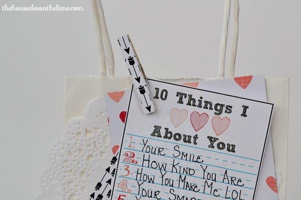 10 Things I Love About You Gift Bag | The House Down the Lane
