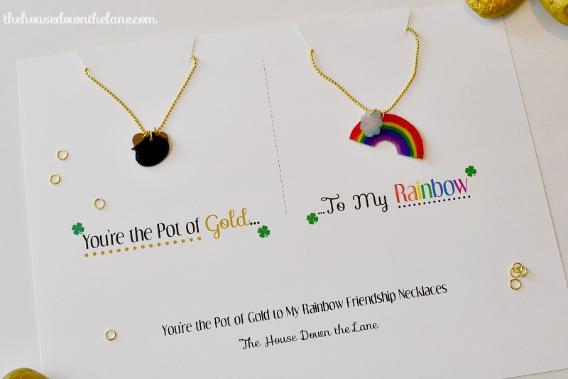 """I'm hanging out over at Sweet Tea & Saving Grace today sharing a tutorial for DIY Friendship Necklaces : """"You're the Pot of Gold to My Rainbow"""" Friendship Necklaces!   The House Down the Lane"""