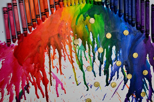 St. Patty's Day Melted Crayon Art