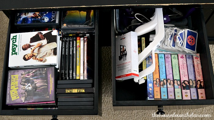 This DIY Movie Storage for Small Spaces project is a little time intensive, but it makes up for it in space and organization gained!   The House Down the Lane