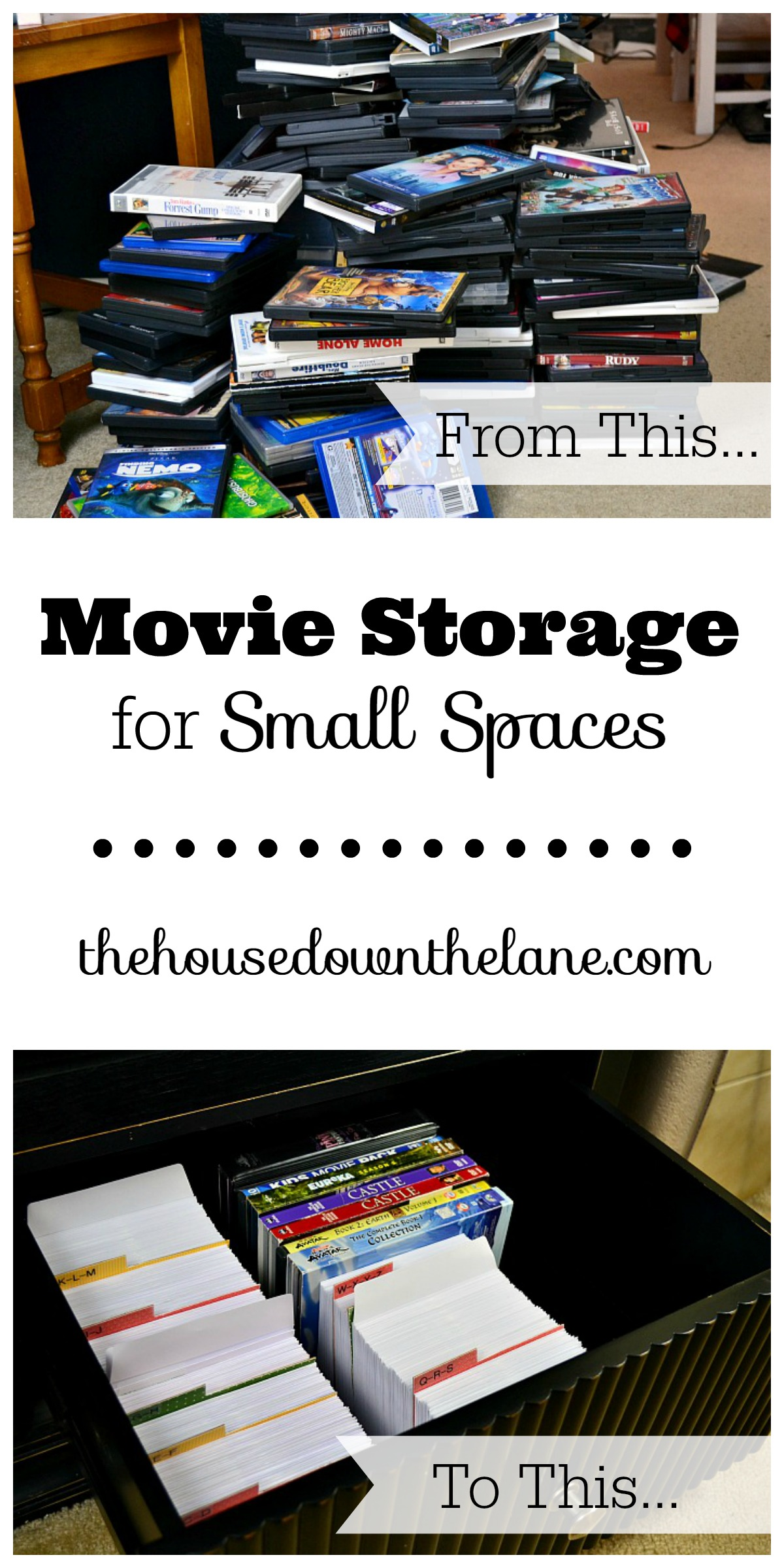 This DIY Movie Storage for Small Spaces project is a little time intensive but makes up for it in space gained!   The House Down the Lane