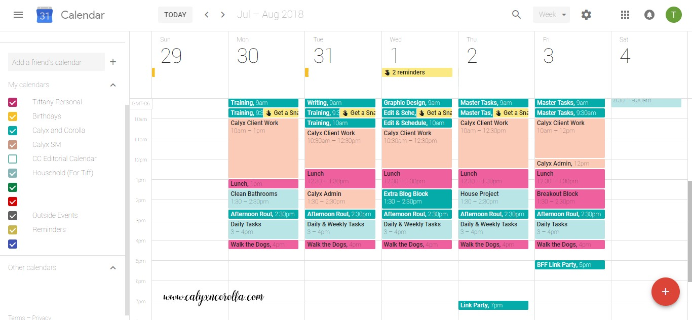 How to Use Google Calendar to Organize Your Home Business | Calyx and Corolla