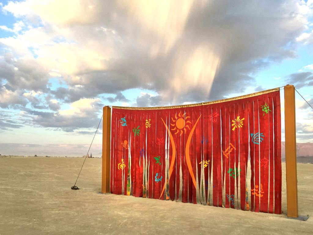 Canvas Deconstruction Series: SOLARIS by Carlos Grasso (Burning Man 2017 art installation) acrylic on canvas - 14' x 26'