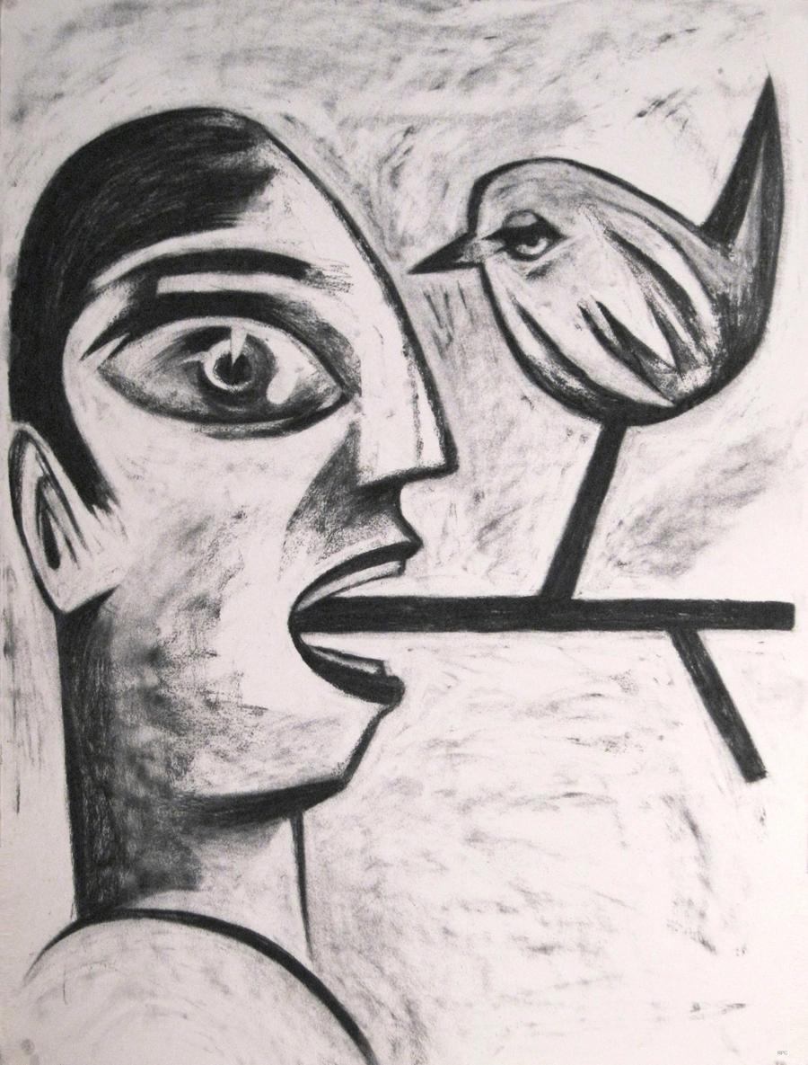 """Rafael Perea de la Cabada """"Birds on a Wire"""" """"Pajaros en el Alambre"""" Charcoal Drawing, 30x22"""", 2018"""