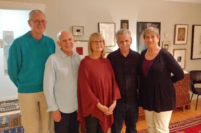 Artist Spotlight Sponsor Michael Rohde, Afterglow Co-host Dane Goodman, featured artist Linda Ekstrom, Paul Ekstrom and Afterglow Co-host Marie Schoeff, November 17, 2019