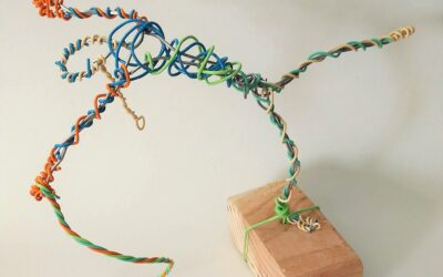 Wire and clay sculpture