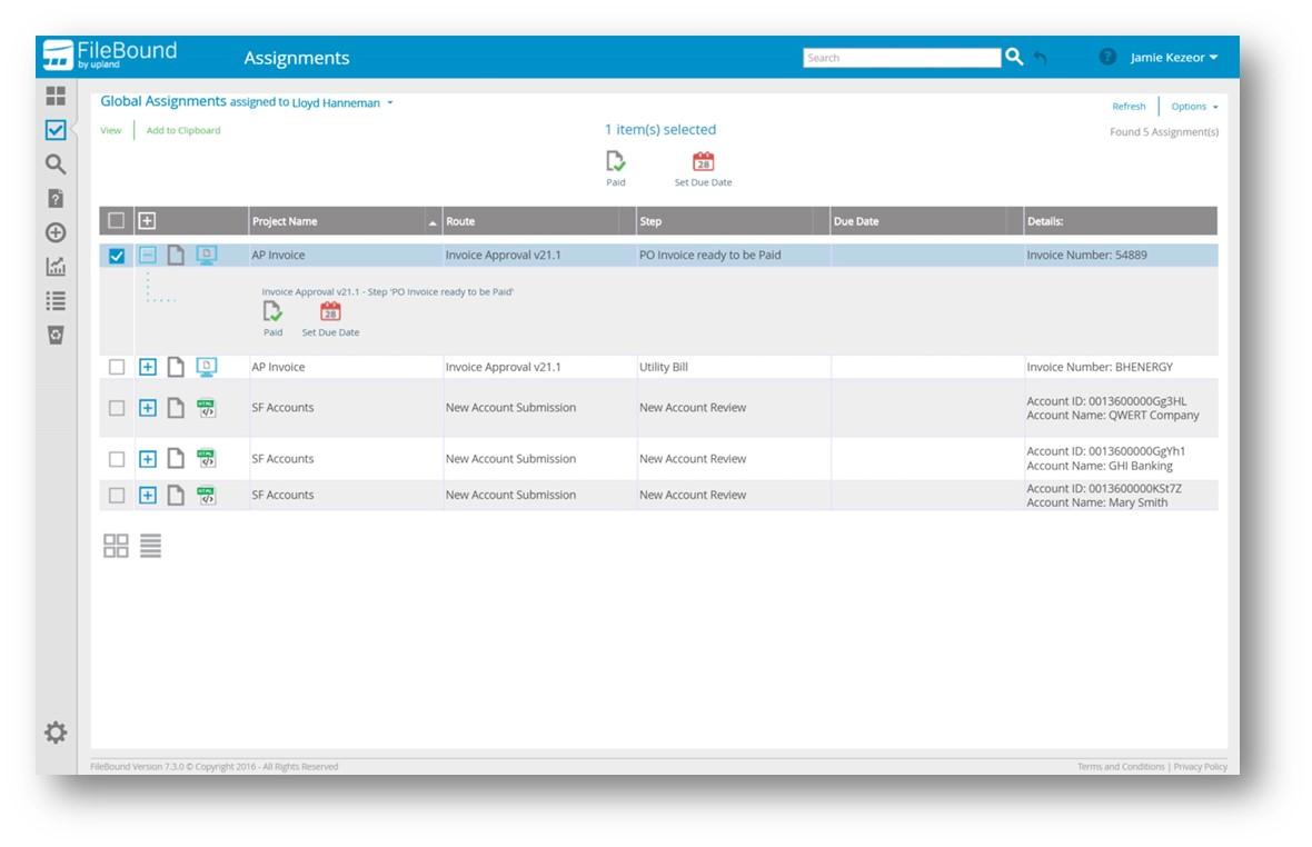 FileBound Assignments Screenshot