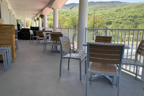 Looking at Loon Mountain from the Seven Birches Winery Veranda