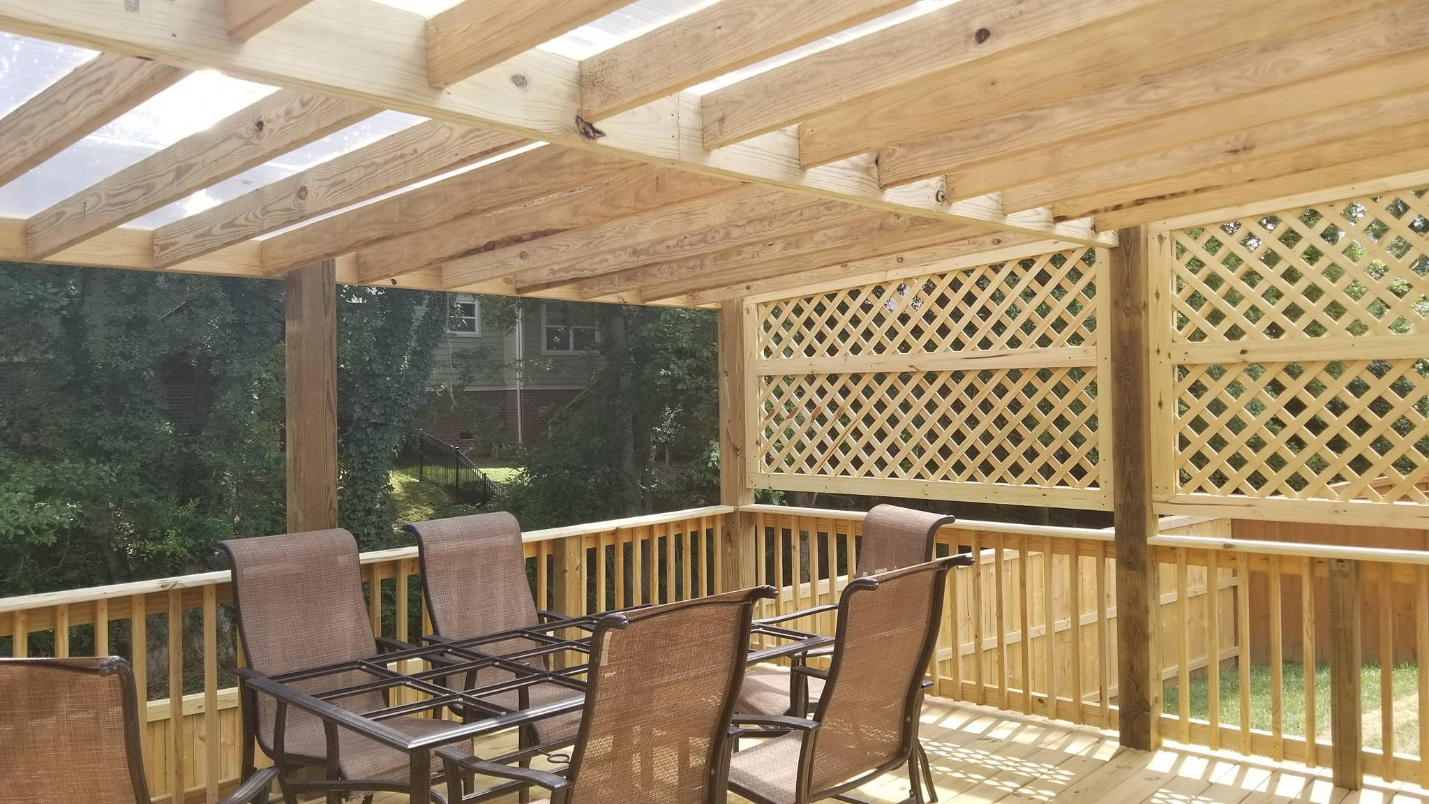 Deck with Thermoclear Pergola in Brentwood