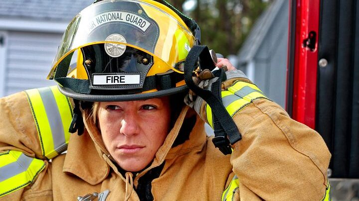 A female firefighter