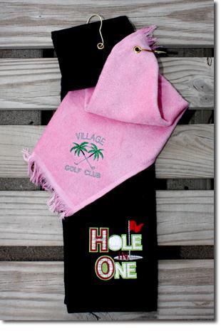 Monogram on golf towels.