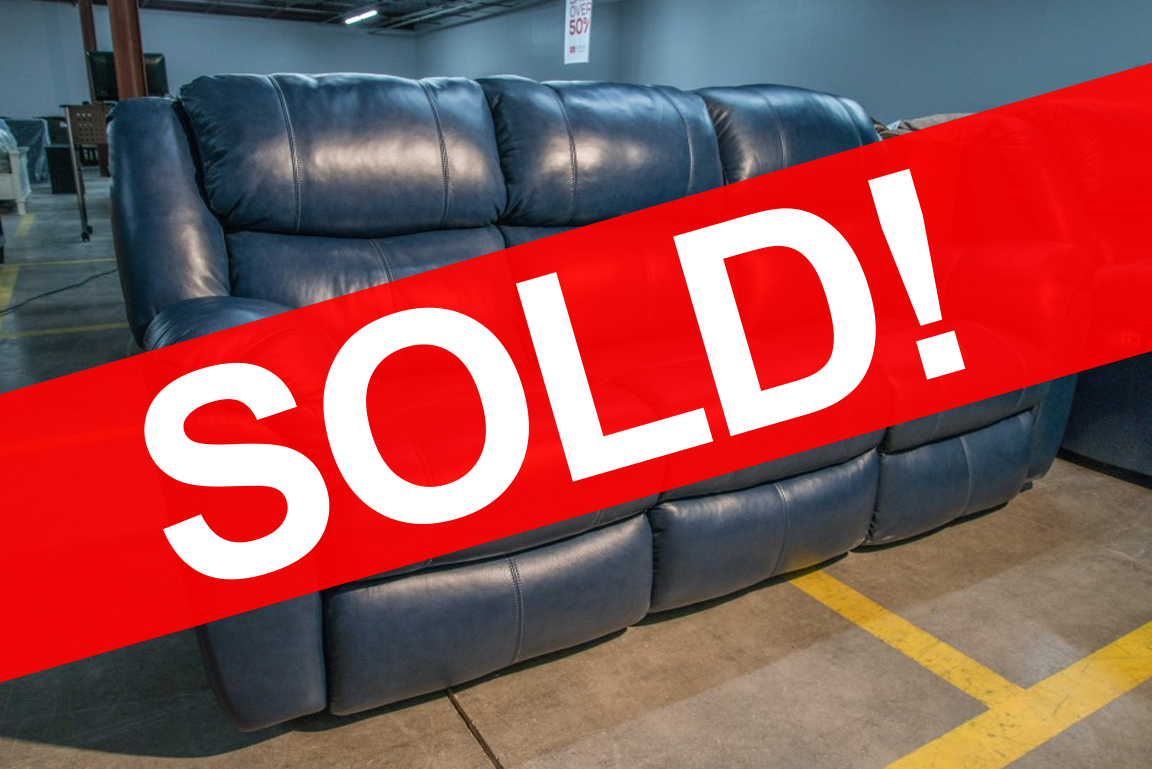 Southern Motion Blue Leather Sofa