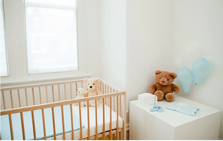 Crib at the room for inspection
