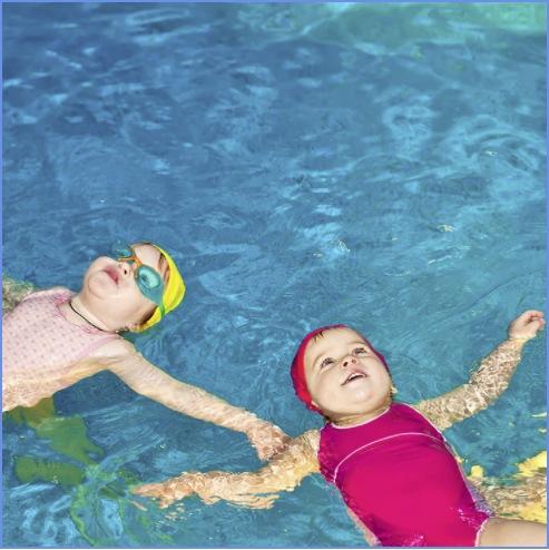 Kids enjoys floating at the pool