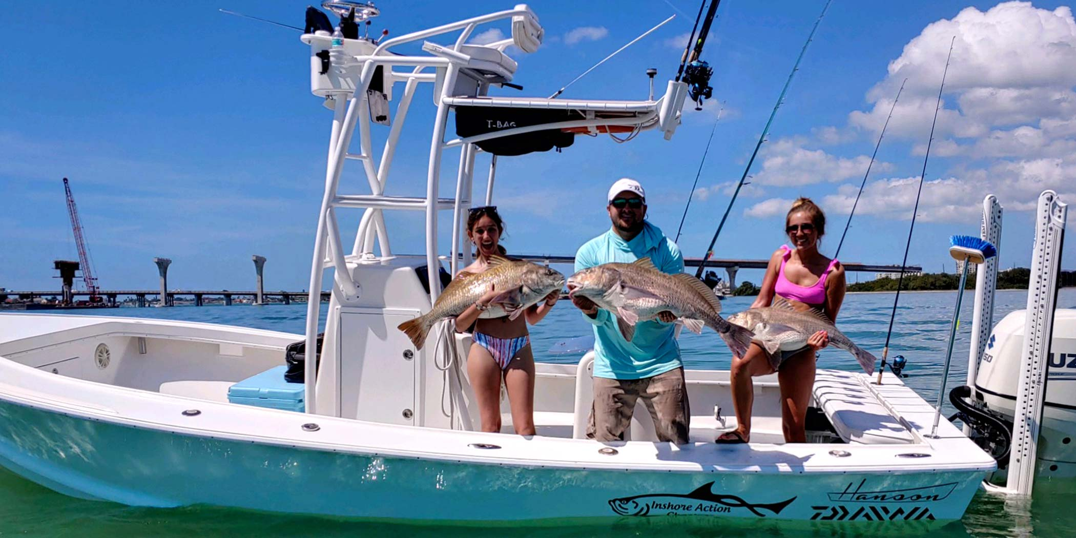 The sign of a successful inshore charter, a trio of big drums landed!