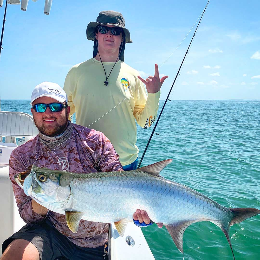 Summertime charters means a hot tarpon bite, with many charters landing great fish such as this one.