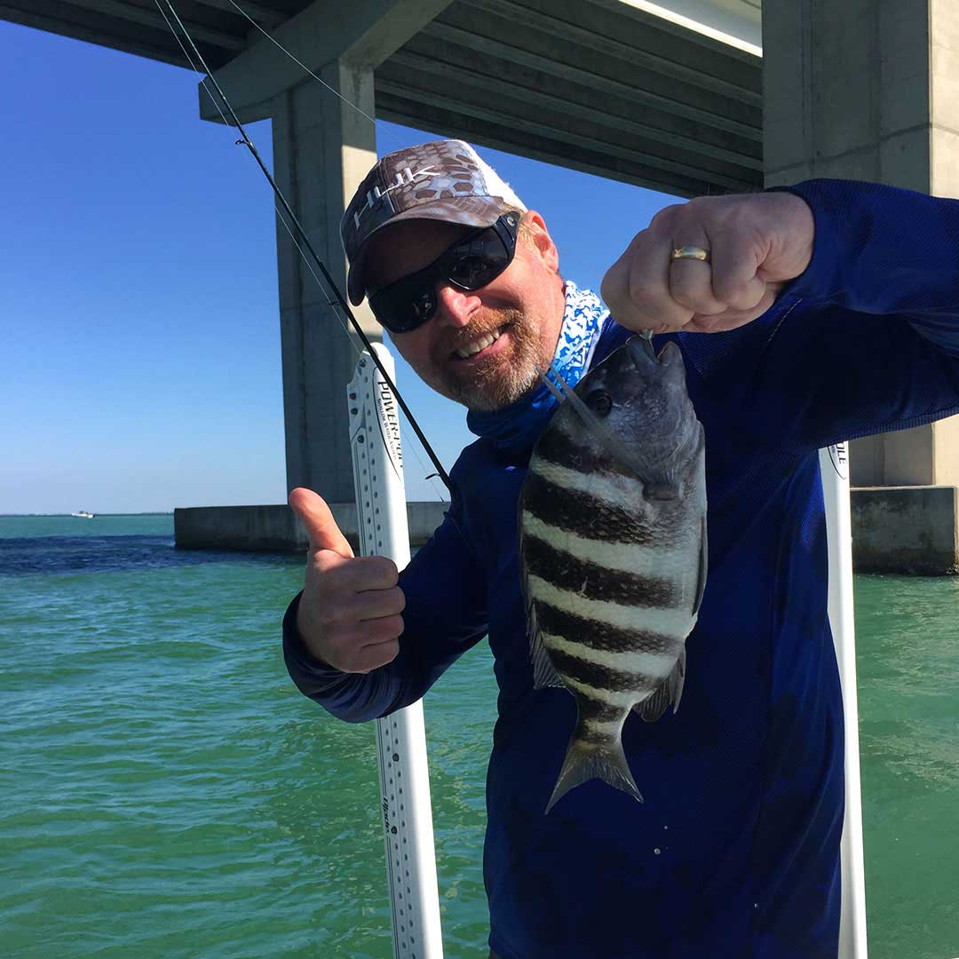 Sheepshead make a great winter catch, fishing for them under the bridges during a charter.