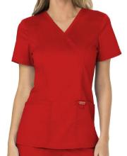 Women's Red Mock Wrap Scrub Top