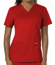 Women's Red V-Neck Scrub Top