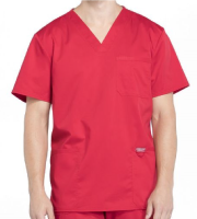 Men's Red Scrub Top w/ Chest & Patch Pockets