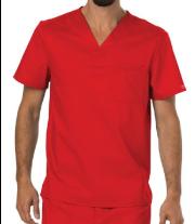 Men's Red Scrub Top w/ Chest Pocket
