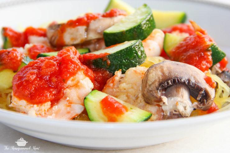Spaghetti Squash Shrimp Primavera {Whole30} {Paleo}