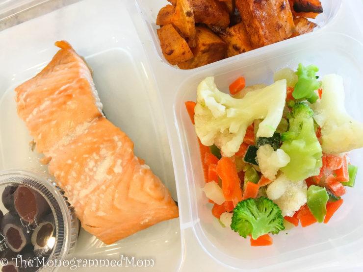 Whole30 Lunch Box - Salmon, Sweet Potatoes, Veggies, Olives