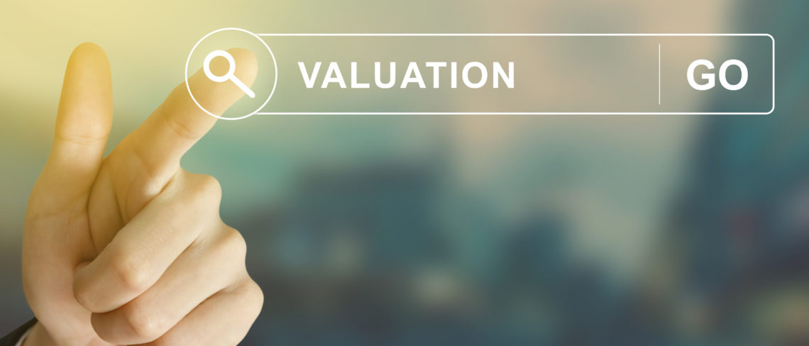 business hand clicking valuation button on search toolbar