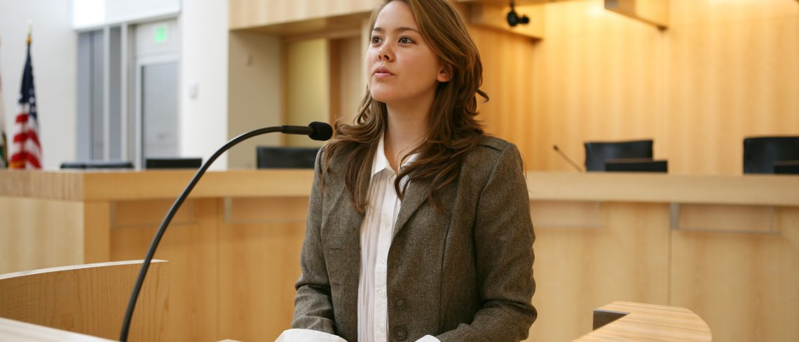 woman testifying